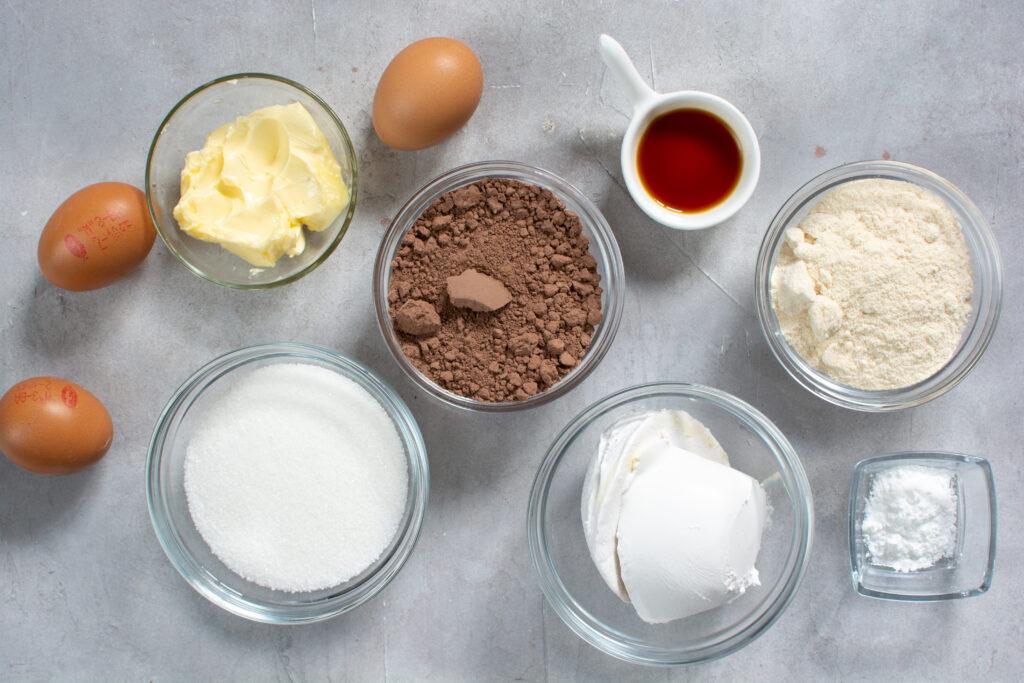 image of ingredients to make keto halloween brownies