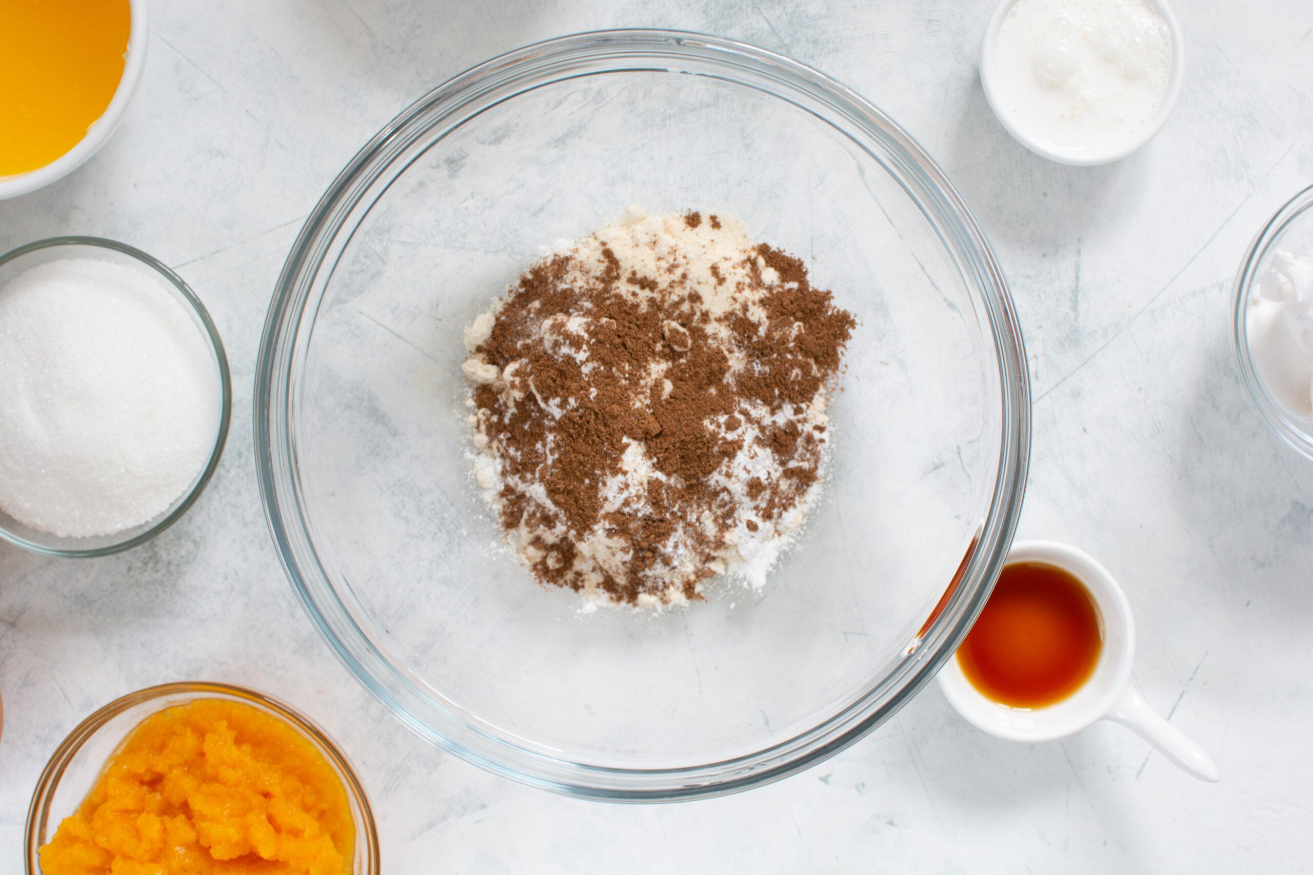 Dry ingredients for making keto pumpkin cookies